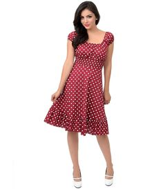 1940s Style Polka Dot Peasant Swing Dress #uniquevintage