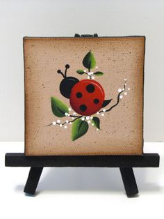 Ladybug Mini Canvas on Easel, Handpainted, Home Decor, Shelf Sitter Small Canvas Paintings, Easy Canvas Painting, Mini Canvas Art, Summer Painting, Mini Paintings, Tole Painting, Painting For Kids, Canvas Wall Collage, Miniature Paintings