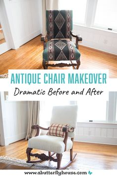 DIY chair makeover turns an outdated upholstered thrift store chair into a modern beauty while retaining the antique aspects! #FurnitureMakeover #FurnitureFlip Thrift Store Furniture, Creative Furniture, Refinishing Furniture, Flipping Furniture, Diy Chair Makeover, Diy Decor Projects, Thrifting, Decor Project, Easy Diy Decor