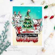 Simon Says Stamp – Feline Like Christmas Spinners – Caly Person Simon Says Stamp, Merry, Fun, Happy Holidays, Card Ideas, Christmas Cards, Stamps, How To Make, Greeting Cards