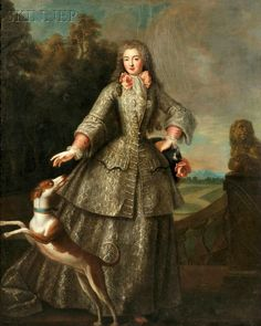 Portrait of a Lady wearing a riding habit by an artist of the French School, c. early 18th c.