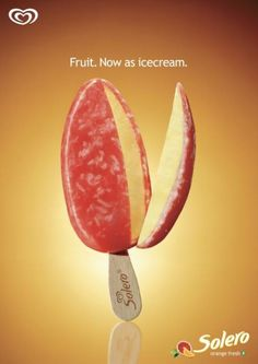 The Print Ad titled FRUIT was done by McCann Malmo advertising agency for brand: Gb Glace in Sweden. It was released in the Apr Ads Creative, Creative Advertising, Advertising Design, Advertising Agency, Photoshop Masking Tutorial, Ice Cram, Ice Cream Poster, Ice Cream Design, Fruit Ice Cream