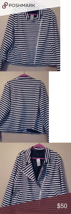 Lane Bryant Stripe Moto Jacket Navy blue stripe moto Jacket made with cotton and spandex. Perfect cold weather fashion piece to go with dark jeans and a cute clutch. Lane Bryant Jackets & Coats