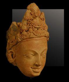 Christophe Hioco  Head of a Deva  India  Gupta period (5th - 6th c.)  terracotta  9 1/8 inches