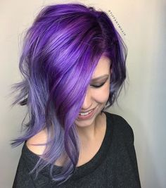 This smoky purple haze is Created by Tiffany Massey ( Structure Hair Studio in Dahlonega, Ga., who specializes in vibrant creativity, we've got the formulas and how-to just for you! Bright Hair Colors, Hair Color Purple, Hair Color For Black Hair, Cool Hair Color, Colourful Hair, White Hair, Purple Lilac, Violet Hair, Pink Hair