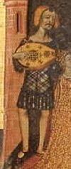 School of Lattagona: Altarpiece from the Castle of Santa Coloma de Queralt. c. 1365.  Museu d'Art de Catalunya, Barcelona  (OK....the plaid IS on both sides....)