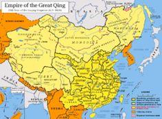 Ubicación de Dinastía qing Territorio del Imperio ching en 1820. En naranja, los estados tributarios de China.