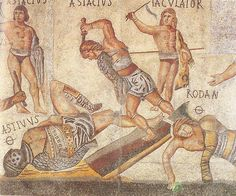 """Ancient Roman Gladiator Mosaic, dated to the first half of the 4th century. The name of each gladiator depicted is given in inscription next to the figure, with a Ø symbol (possibly the Greek letter Θ, for θάνατος """"dead"""") marking the names of gladiators who died in combat."""