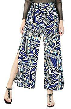 363220bf103e Oberora-Women Casual Split Side Printed High Waist Beach Palazzo Pants Wide  Leg Pants