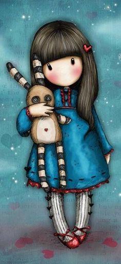 Santoro Gorjuss чехол для iPhone Hush Little Bunny Cute Images, Pretty Pictures, Art Pictures, Santoro London, Cute Cartoon Girl, Kawaii, Little Doll, Whimsical Art, Cute Drawings