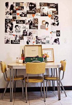 I like the diner style table and chairs and the photo collage.