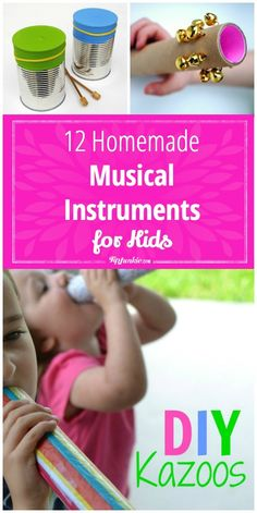 12 Homemade Musical Instruments for Kids Craft?<br> You don't have to spend a lot of money to introduce your children to simple musical instruments!Make your own instruments with supplies you have at home! Diy For Kids, Crafts For Kids, Toddler Crafts, Music For Toddlers, Kids Music, Toddler Music, Homemade Musical Instruments, Baby Instruments, Instrument Craft