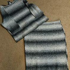 Lane Bryant Sweater  Skirt Set  NWOT Black and Gray Stripes, 54% cotton,  30% acrylic,  9% polyester and 7%nylon Lane Bryant Other
