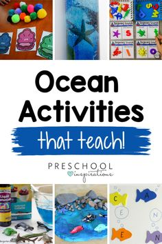 Preschool Ocean Theme Activities that Kids Love - Preschool Inspirations Playdough Activities, Pre K Activities, Kids Learning Activities, Educational Activities, Summer Activities, Family Activities, Preschool Literacy, Preschool Themes, Preschool Crafts