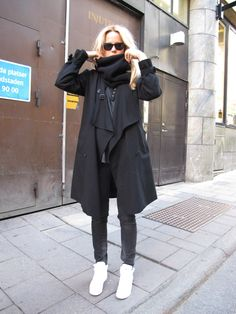 another photo of Elin Kling. all black with clean white kicks and blonde locks. love it!