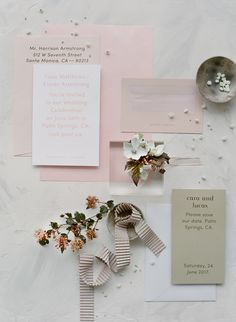 pink white tan stationery | Photography: Jose Villa Photography