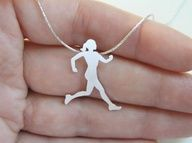 Silver Runner Necklace Running Woman by DaliaShamirJewelry, via Etsy.