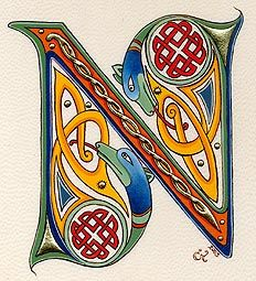 medieval illuminated N - from Nat Neighbour's Board - Lettering Celtic Fonts, Celtic Symbols, Celtic Art, Celtic Dragon, Alphabet Art, Calligraphy Alphabet, Letter Art, Design Alphabet, Graffiti Alphabet