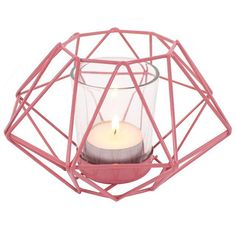 PINK GEOMETRIC TEA LIGHT HOLDER