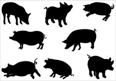 Pigs Silhouette Clip Art Pack Template This silhouette is perfect Clip Art graphics. You can purchase and use this clip art for personal and commercial use.  When you purchase this clip art, you will get a zip file which contains 1 jpeg file, 1 png file and 1 Illustrator(. ...