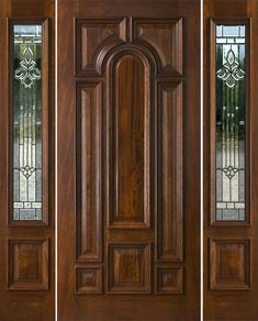 Exterior Entry Doors with 1 Sidelight - Solid Mahogany Entry Doors - September 15 2019 at House Main Door Design, Wooden Front Door Design, Home Door Design, Door Design Interior, Wood Front Doors, Sliding Doors, Exterior Doors With Sidelights, Exterior Entry Doors, Patio Doors