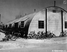 Bicycles beside a Nissen hut of the 381st Bomb Group. Most airmen acquired a bike.
