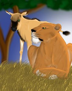 Saved by the lioness - Doodle Do Digital Art, Art Gallery, Lion Sculpture, Doodles, My Arts, African, Birds, Fish, Statue