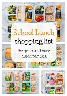 School Lunch Grocery List
