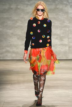 Add beads to your sunnies and multicolored pom poms to your sweater. Spring 2015 Ready-to-Wear - Libertine. #nyfw