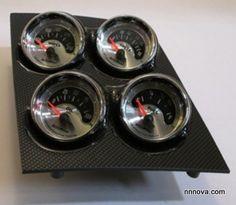 1968-1974 Nova Console Carbon Fiber Finish Quad Pod with AutoMeter American Muscle Electric Gauges.