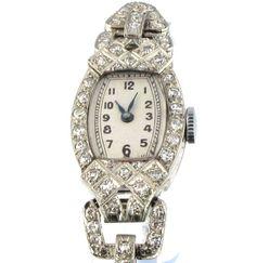 1930s Art Deco Platinum and Diamond Watch.