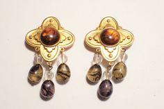 Vintage BEN AMUN Signed Large Gold Tone Amber With Dangling Drops Clip Earrings #BenAmun #DropDangle