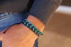 bracelet Homme cuir tressė turquoise et noir : Bijoux pour hommes par made-with-love-in-aiacciu