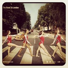 Aly Raisman, Gabby Douglas, Jordyn Wieber, and Mckayla Maroney on Abbey Road. Headed to London! USA!