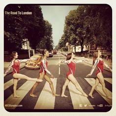 Aly Raisman, Gabby Douglas, Jordyn Wieber, and Mckayla Maroney on Abbey Road. Headed to London! USA!