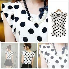 2016 new product fashion women polka dots casual chiffon blouse short sleeve summer tops Womens Fashion Casual Summer, Fashion Women, Women's Fashion, Fashion Dresses, Chiffon, Summer Tshirts, Summer Tops, New Product, Polka Dot Top