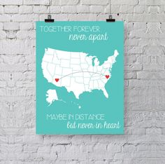 Best Friend Gift - Personalized Art Print - Going Away Gift - Together Forever - Never in Heart - United States Map Long Distance Gift