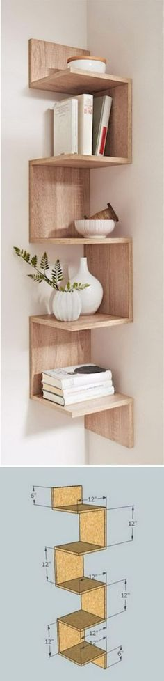 DIY Corner Shelves to Beautify Your Awkward Corner DIY your photo charms, compatible with Pandora bracelets. Make your gifts special. Make your life special! Corner shelves – DIY projects to beautify your awkward corner Home Decor Items, Cheap Home Decor, Diy Home Decor, Home Decor Accessories, Decor Room, Wall Decor, Diy Wall, Diy Corner Shelf, Corner Wall