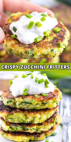 Easy Zucchini Fritters are a healthy, gluten-free side dish or appetizer recipe that is made from grated zucchini, Parmesan cheese, and a touch of garlic, fried in a cast iron skillet and then baked i Baked Zucchini Fritters, Bake Zucchini, Zucchini On The Grill, Zucchini Cheese Bites, Zucchini Crab Cakes, Zucchini Burgers, Zucchini Frittata, Zucchini Pancakes, Best Appetizer Recipes