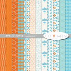 BUY 2 GET 1 FREE:    Oakley Orange Digital Scrapbook Paper Pack 12x12. $3.00, via Etsy.
