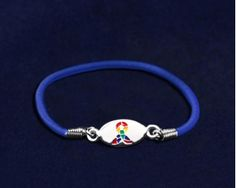This autism ribbon stretch bracelet is inexpensive and is a great item to give away to promote awareness.  B-55-2