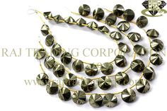 Pyrite Faceted U.F.O (Double Cut) (Quality A) Shape: UFO Faceted Length: 18 cm Weight Approx: 28 to 30 Grms. Size Approx: 9.50 to 11.50 mm Price $17.20 Each Strand