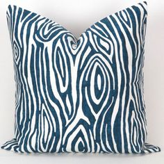 Navy Wood Grain Pillow Cover ANY SIZE Faux Bois by DeliciousPillows