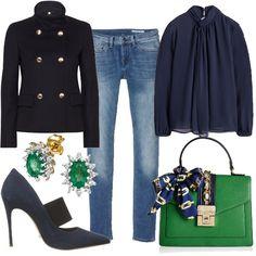 """Un outfit chic adatto per un aperitivo con le amiche composto da jeans skinny, blusa morbida con forte trasparenza, scarpe con tacco a spillo e giacca in lana e cachemire. Completano il look la borsa a mano e gli orecchini """"lush meadow""""."""