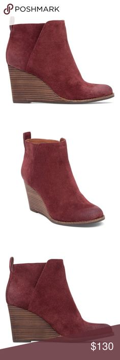 """Lucky Brand Beet Wine Red Wedge Suede Boots Classy, stylish, and trendy boots with real Suede upper and wood-look wedge. Color is like beet or burgundy. Super cute and comfortable. And can we just talk about how quality the brand Lucky Brand is? 👌👌👌 2.35"""" heel and 3.75"""" shaft. Make offer, people! 😊 Lucky Brand Shoes Ankle Boots & Booties"""