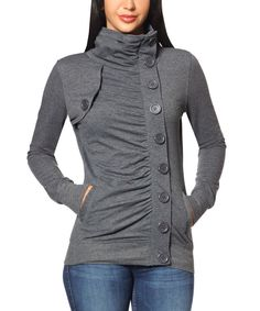 This So Nice Collection Gray Button-Up Funnel Collar Jacket by So Nice Collection is perfect! #zulilyfinds