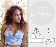 Womens halter neck bralet style cropped-top, with tie back f.-Womens halter neck bralet style cropped-top, with tie back fastening Crop Top Styles, Dress Couture, Elie Saab Couture, Bralette Pattern, Bra Pattern, Neck Pattern, Pattern Names, Cropped Tops, Pdf Sewing Patterns