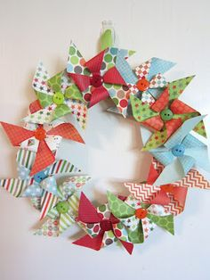 #papercraft #homedecor #wreath From the fabulous Shar..Would be so cute with patriotic paper for the 4th