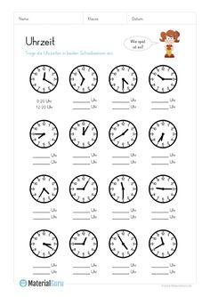 Lernübungen für kinder zu drucken. Setzen Sie die Zeit auf der Uhr ...