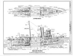 free, ship, plan, inboard, profile, steam, tug, Hercules, boat, ship, vessel